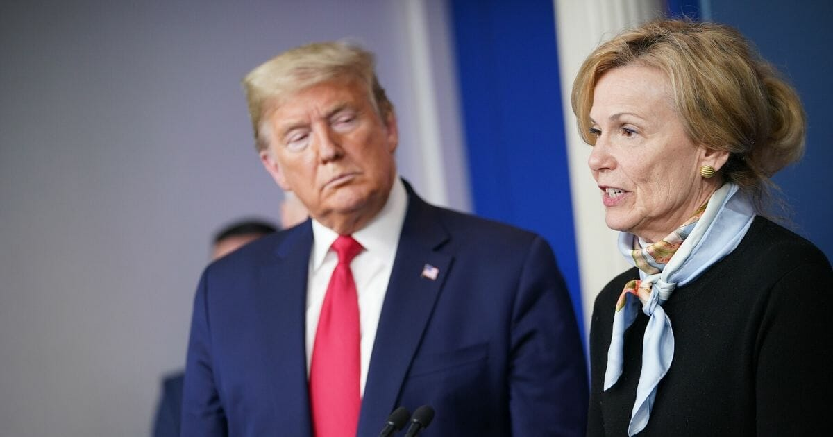 Dr. Deborah Birx, the coordinator for the White House coronavirus task force, speaks while President Donald Trump listens during the daily briefing on the novel coronavirus at the White House on March 24, 2020.