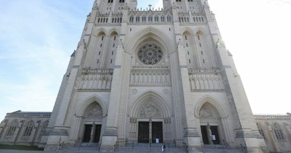 A detailed view of exterior of Washington National Cathedral prior to Sunday Mass being live-webcast to its parishioners due to the coronavirus on March 22, 2020, in Washington, D.C.