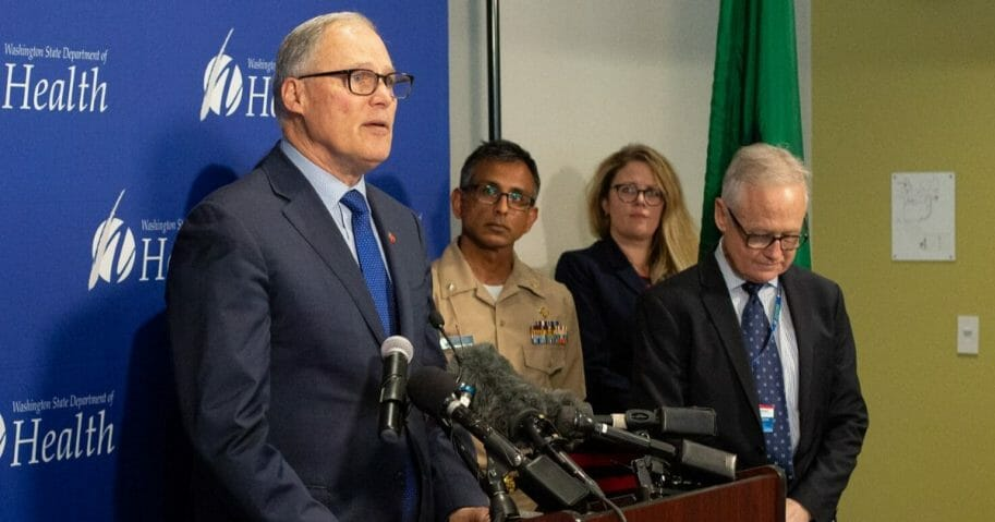 Washington Gov. Jay Inslee speaks during a news conference Jan. 21, 2020, at the state Public Health Laboratories in Shoreline about the first confirmed U.S. case of coronavirus.