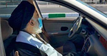 Hadi al-Modarresi wearing a surgical mask on March 9, 2020.