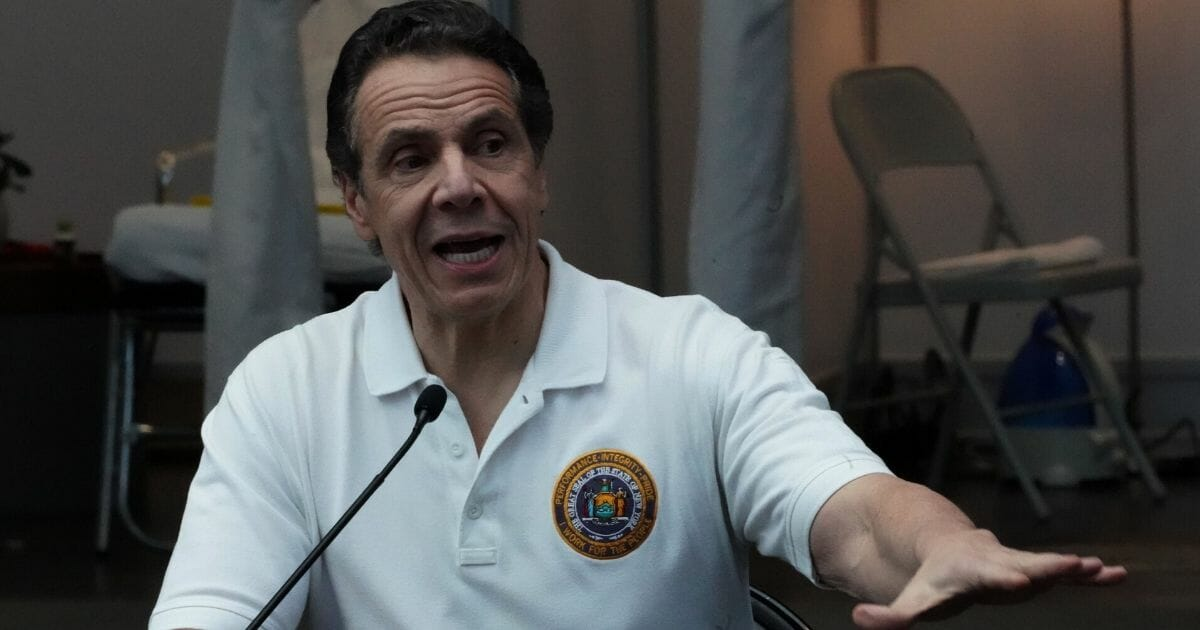 New York Gov. Andrew Cuomo speaks to the media at the Jacob K. Javits Convention Center in New York on March 27, 2020.