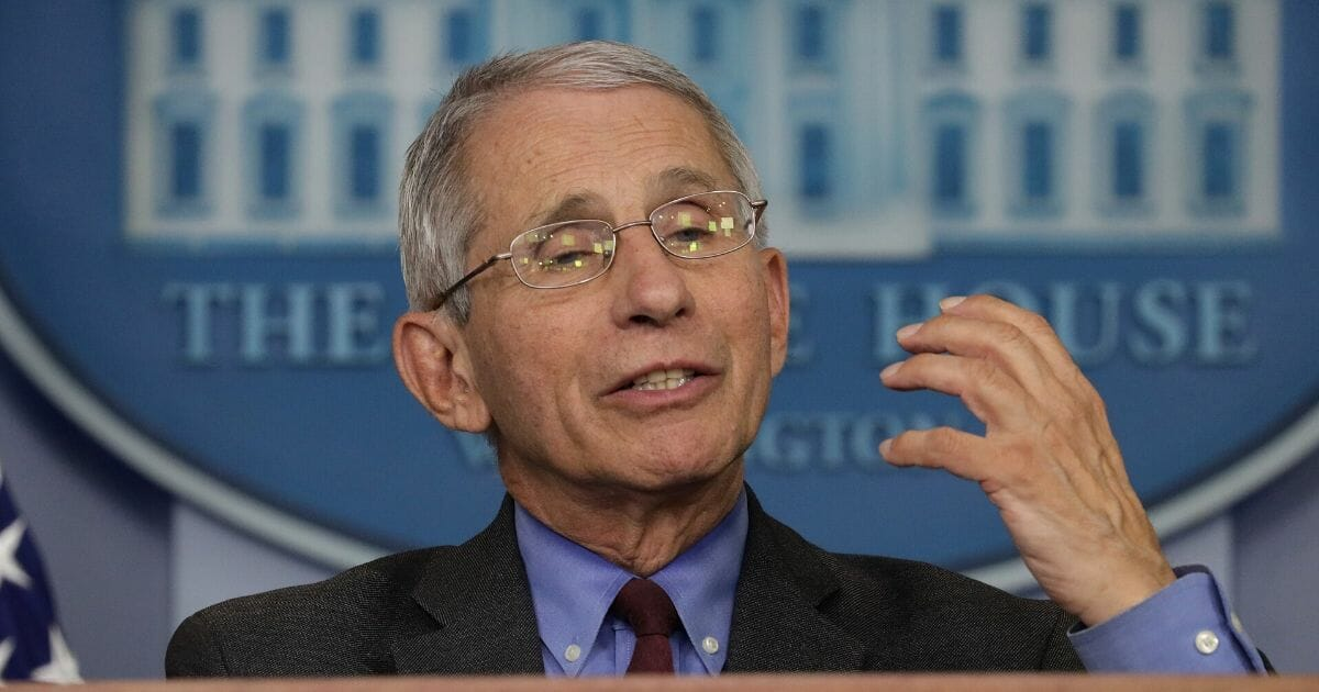Dr. Anthony Fauci, director of the National Institute of Allergy and Infectious Diseases, speaks during the daily briefing of the White House coronavirus task force in the James Brady Briefing Room on April 10, 2020, at the White House in Washington, D.C.