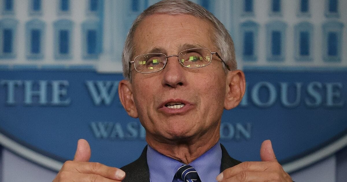 Dr. Anthony Fauci, director of the National Institute of Allergy and Infectious Diseases, speaks to reporters following a meeting of the coronavirus task force in the Brady Press Briefing Room at the White House on April 6, 2020, in Washington, D.C.