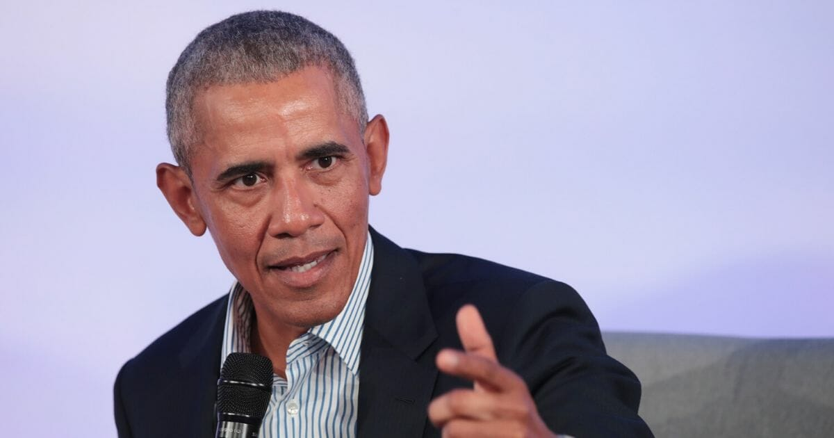 Former President Barack Obama speaks to guests at the Obama Foundation Summit on the campus of the Illinois Institute of Technology on Oct. 29, 2019, in Chicago, Illinois.
