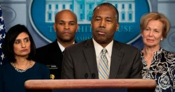Secretary of Housing and Urban Development Ben Carson speaks during a news briefing about the coronavirus in the Brady Press Briefing Room at the White House in Washington, D.C., on March 14, 2020.