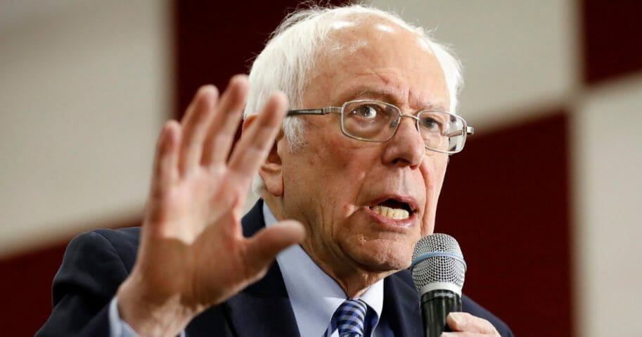 Sen. Bernie Sanders speaks during a campaign rally at Salina Intermediate School in Dearborn, Michigan, on March 7, 2020.