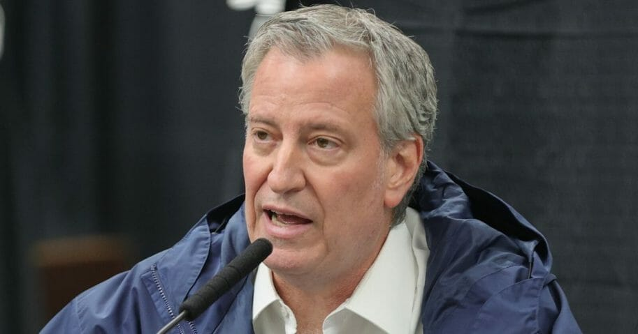 New York Mayor Bill de Blasio conducts a news conference at the USTA Billie Jean King National Tennis Center in Queens on April 10, 2020.