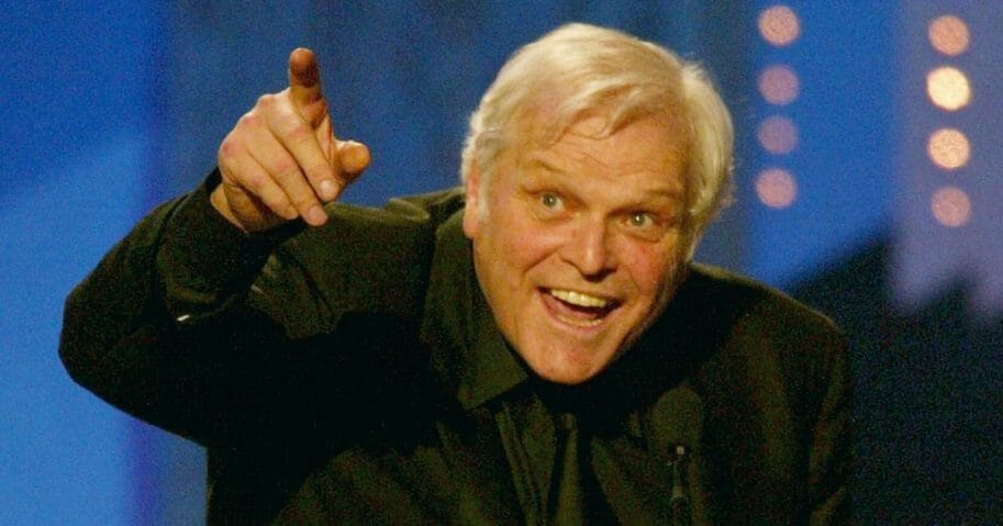 """Actor Brian Dennehy accepts the award for Best Leading Actor In a Play for """"Long Day's Journey Into Night"""" during the Tony Awards at Radio City Music Hall in New York City on June 8, 2003."""