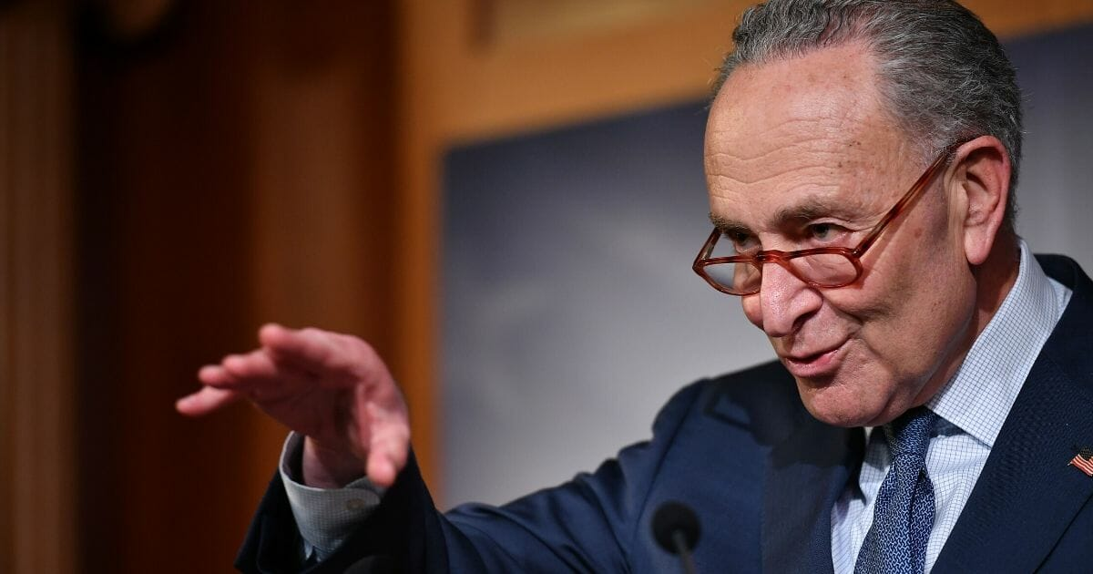 Senate Minority Leader Chuck Schumer of New York speaks during a news conference on Capitol Hill in Washington on Feb. 5, 2020.