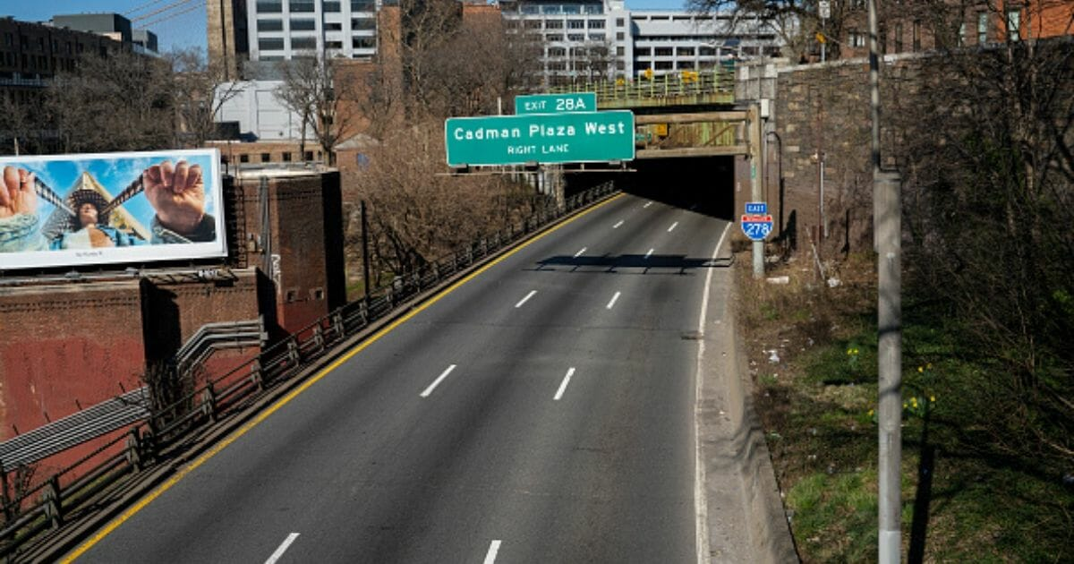 A view of an empty Brooklyn-Queens Expressway from the Brooklyn Heights Promenade in Brooklyn, New York, on March 21, 2020.