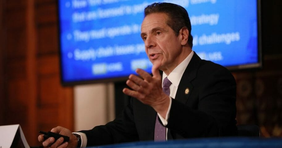 New York Gov. Andrew Cuomo speaks during a news briefing about the coronavirus crisis on April 17, 2020, in Albany.