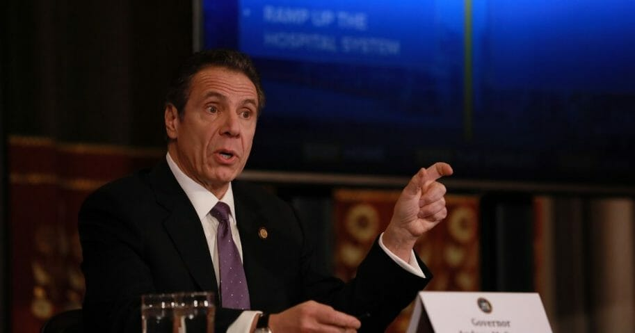 New York Gov. Andrew Cuomo gives his a news briefing