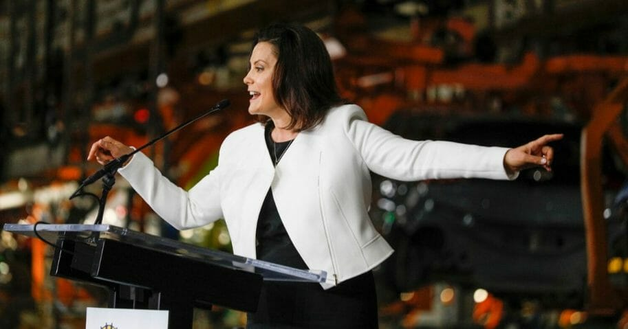 Michigan Gov. Gretchen Whitmer speaks at the Orion Assembly Plant on March 22, 2019, in Lake Orion, Michigan.
