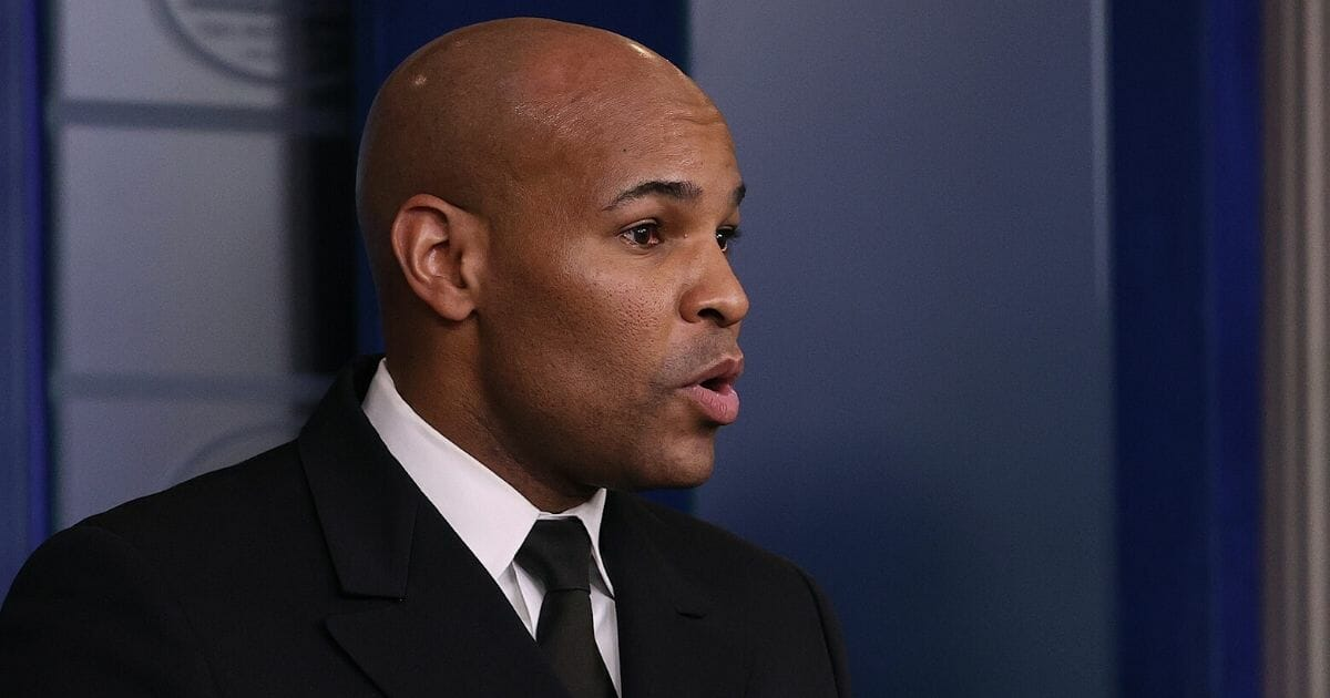 U.S. Surgeon General Jerome Adams speaks during a coronavirus task force briefing at the White House on April 3, 2020.