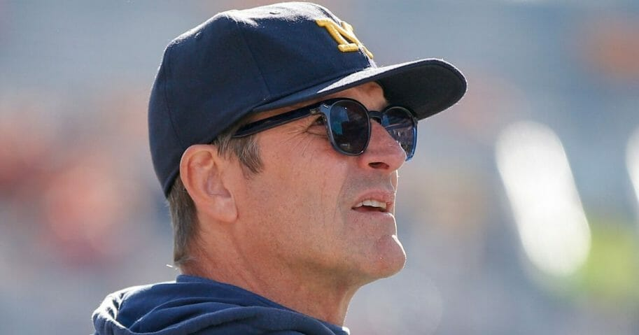 Michigan head coach Jim Harbaugh looks on during the Wolverines' 42-25 victory over Illinois at Memorial Stadium in Champaign, Illinois, on Oct. 12, 2019.