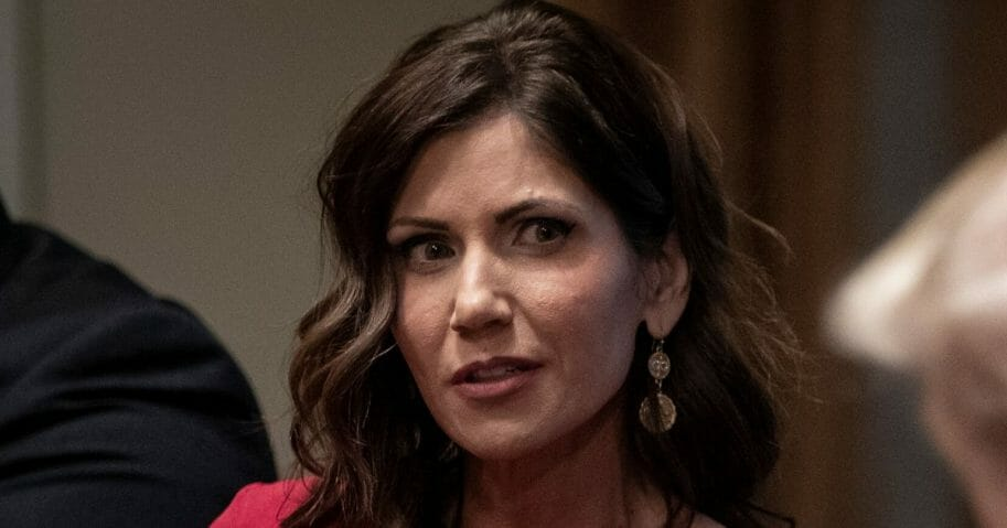 South Dakota Gov. Kristi Noem speaks during a meeting about the Governors Initiative on Regulatory Innovation in the Cabinet Room of the White House on Dec. 16, 2019, in Washington, D.C.