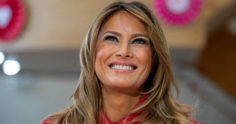 First lady Melania Trump visits the Children's Inn at the National Institutes of Health in Bethesda, Maryland, on Feb. 14, 2020.