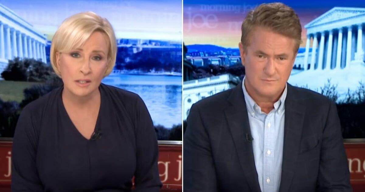 "Mika Brzezinski and Joe Scarborough, co-hosts of MSNBC's ""Morning Joe,"" on Monday's show."