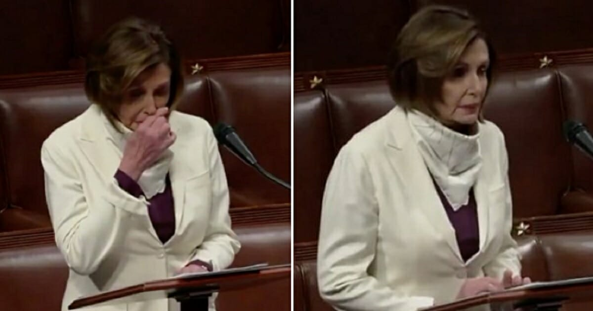 House Speaker Nancy Pelosi leaves her mouth uncovered speaking in the House on Thursday.