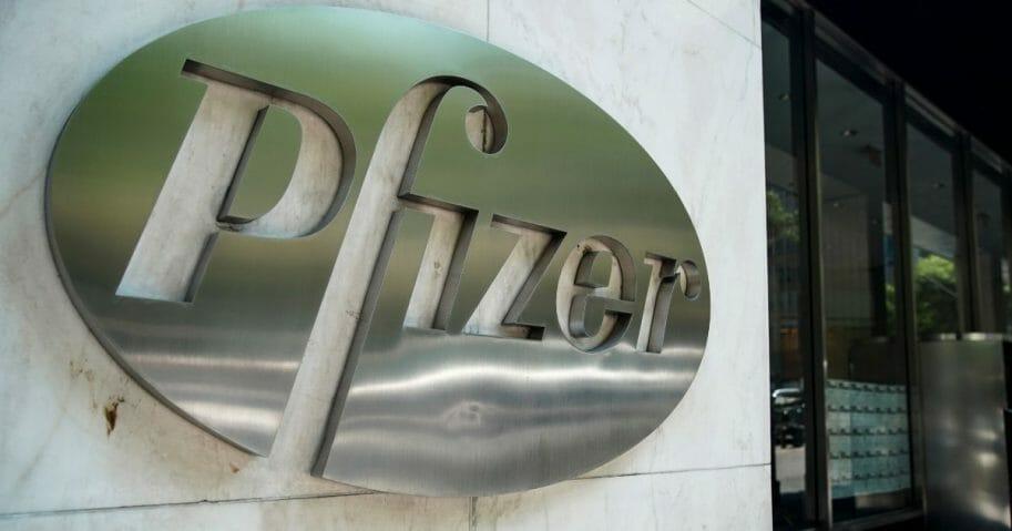 The Pfizer world headquarters stands in Midtown Manhattan on July 29, 2019.
