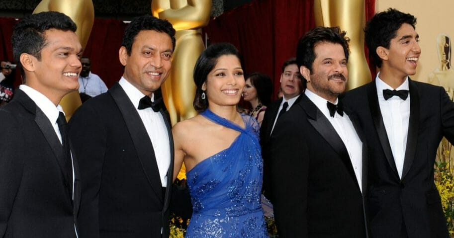 """Irrfan Khan, second from left, arrives with """"Slumdog Millionaire"""" castmates Dev Patel, Madhur Mittal, Freida Pinto and Anil Kapoor at the 81st annual Academy Awards held at the Kodak Theatre in Los Angeles on Feb. 22, 2009."""