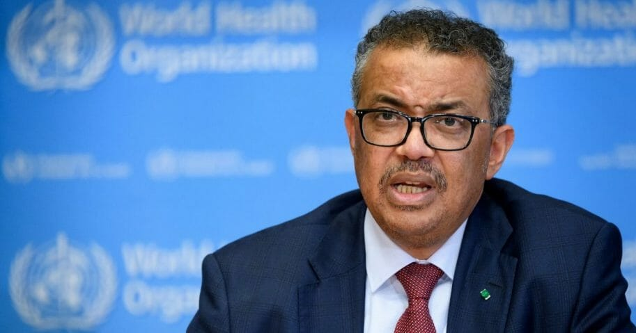 World Health Organization Director-General Tedros Adhanom Ghebreyesus gestures during a daily media briefing on COVID-19 coronavirus at WHO headquaters on March 6, 2020, in Geneva.