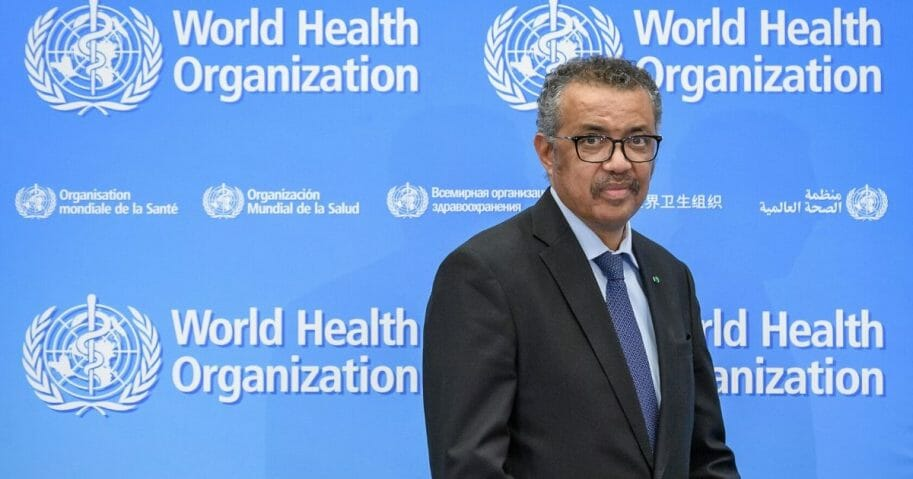 World Health Organization Director-General Tedros Adhanom Ghebreyesus gives a news conference on the situation regarding the COVID-19 at Geneva's WHO headquarters on Feb. 24, 2020.