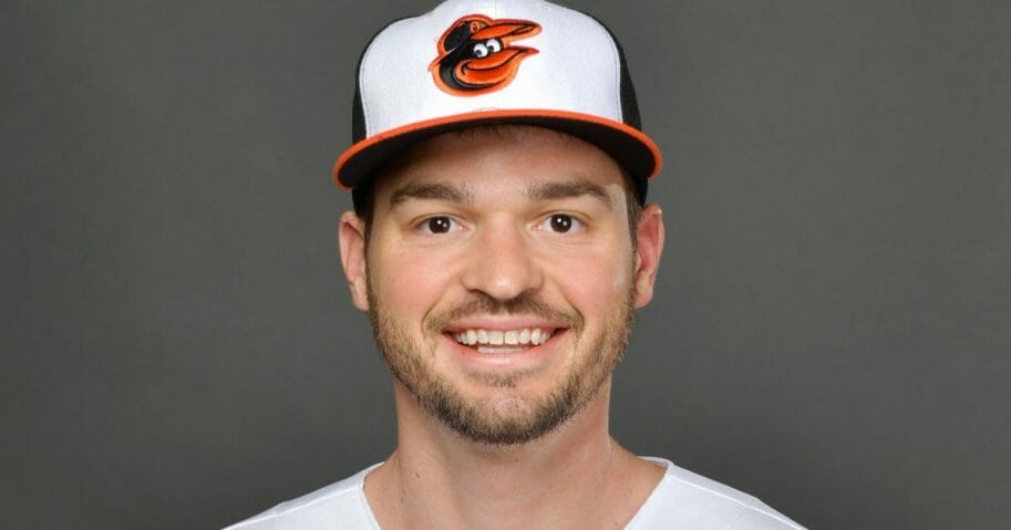 Trey Mancini of the Baltimore Orioles poses during the teams photo day Feb. 18, 2020, at Ed Smith Stadium in Sarasota, Florida.