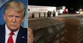 President Donald Trump was credited with getting 251,200 protective masks to Suffolk County, New York.