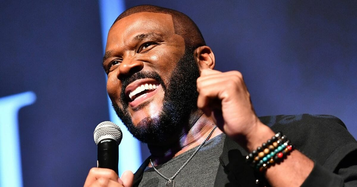 """Tyler Perry speaks onstage during a screening of his film """"A Fall from Grace"""" on Jan. 9, 2020, in Atlanta."""
