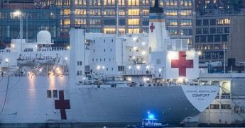 The USNS Comfort, a Navy hospital ship, is docked at Pier 90 on April 3, 2020, in New York City.
