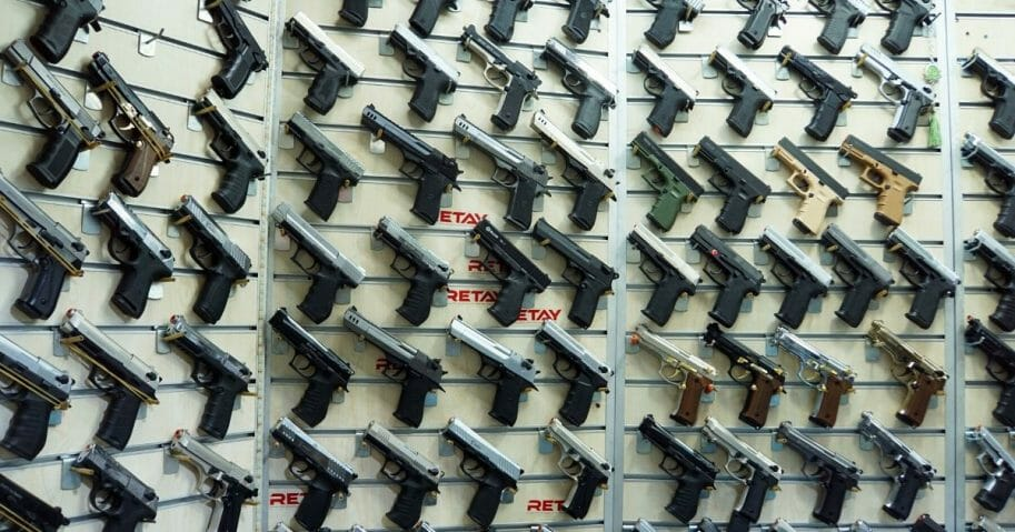 Showcase of handguns at a gun shop in Istanbul.