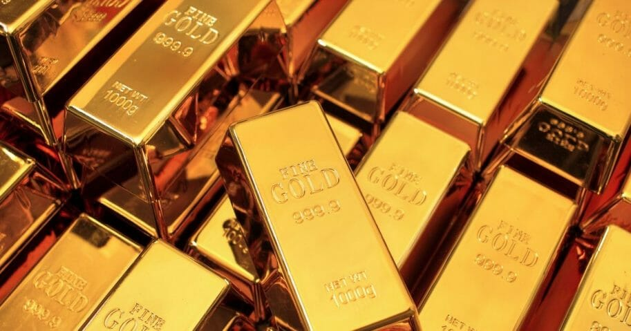 Stock image of a stack of gold bars.