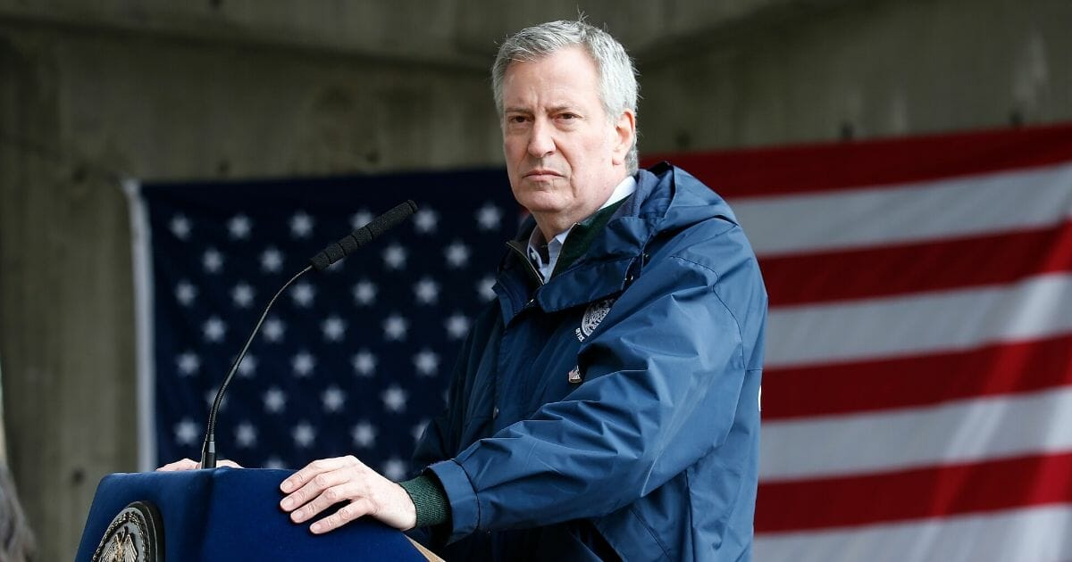 New York City Mayor Bill de Blasio speaks to the media as the USNS Comfort arrives at Pier 90 on March 30, 2020, in New York City.