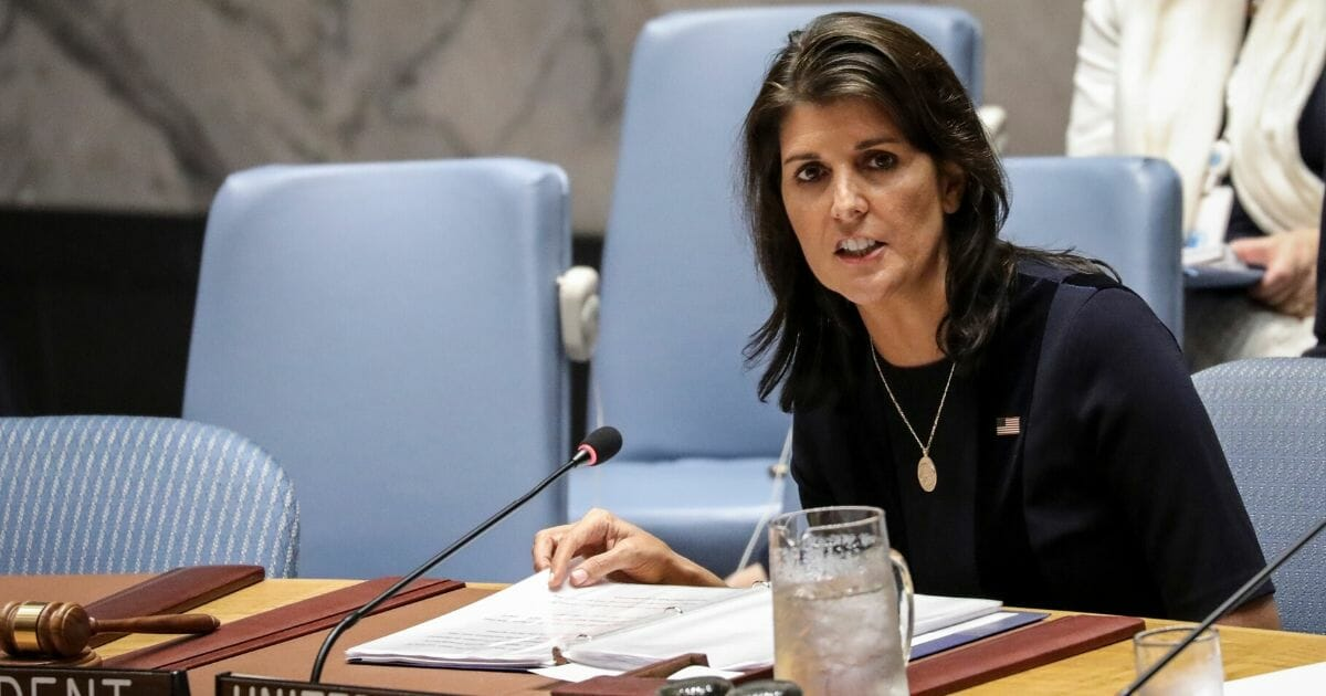 Then-United Nations Ambassador Nikki Haley speaks at the Security Council in September 2018.