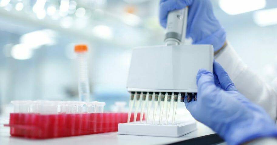 Liquids in vials in a laboratory setting.