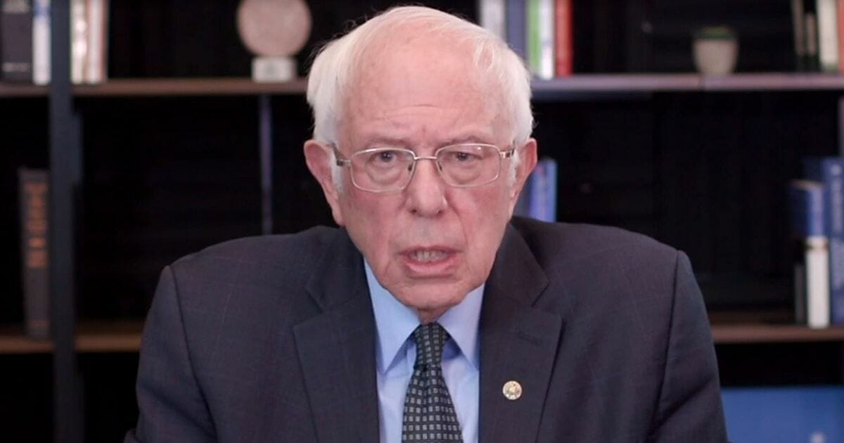 In this webcast screen shot, Democratic presidential candidate Sen. Bernie Sanders of Vermont talks about his plan to deal with the coronavirus pandemic on March 17, 2020, in Washington, D.C.