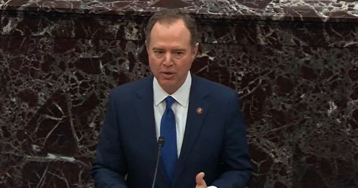House Intelligence Committee Chairman Adam Schiff speaks in the Senate during the impeachment trial of President Donald Trump on Jan. 31.