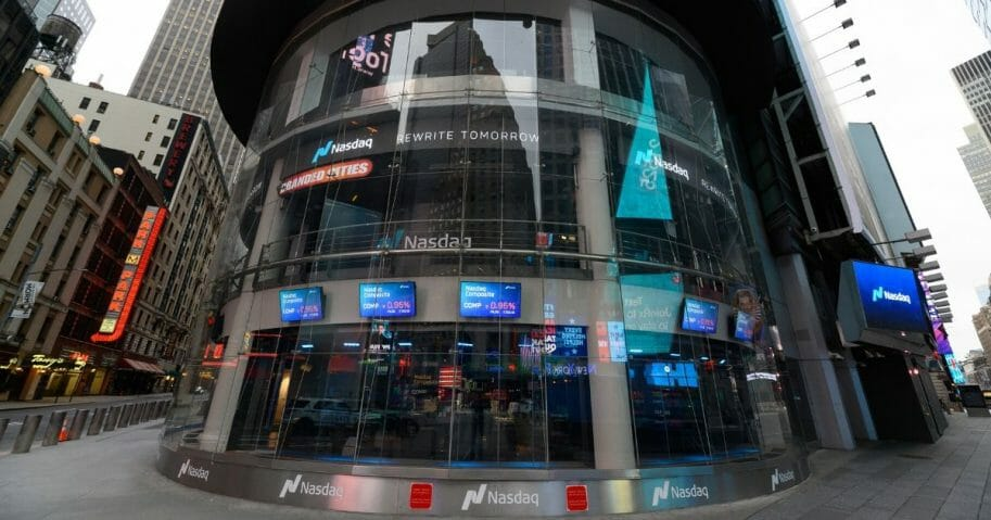 A view outside the Nasdaq Stock Market in Times Square on March 31, 2020, in New York City.