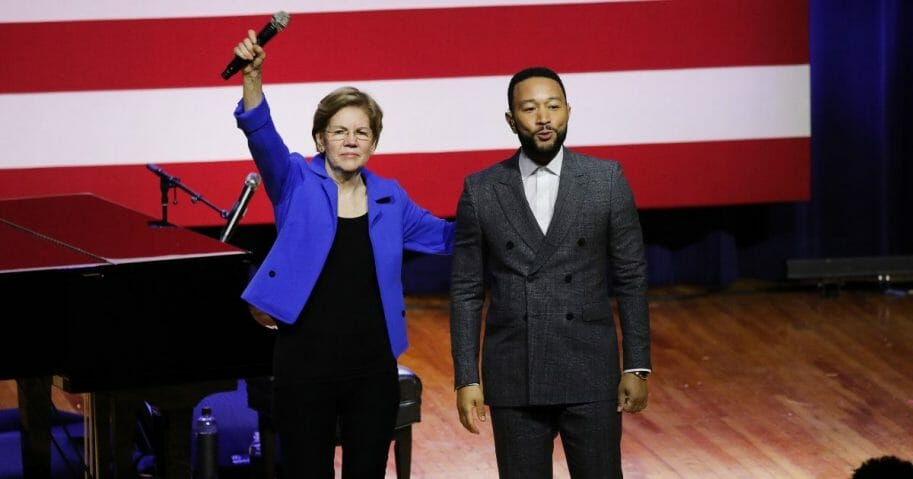 Singer-songwriter John Legend appears at a rally for then-Democratic presidential candidate Sen. Elizabeth Warren of Massachusetts on Feb. 26, 2020, in Orangeburg, South Carolina.