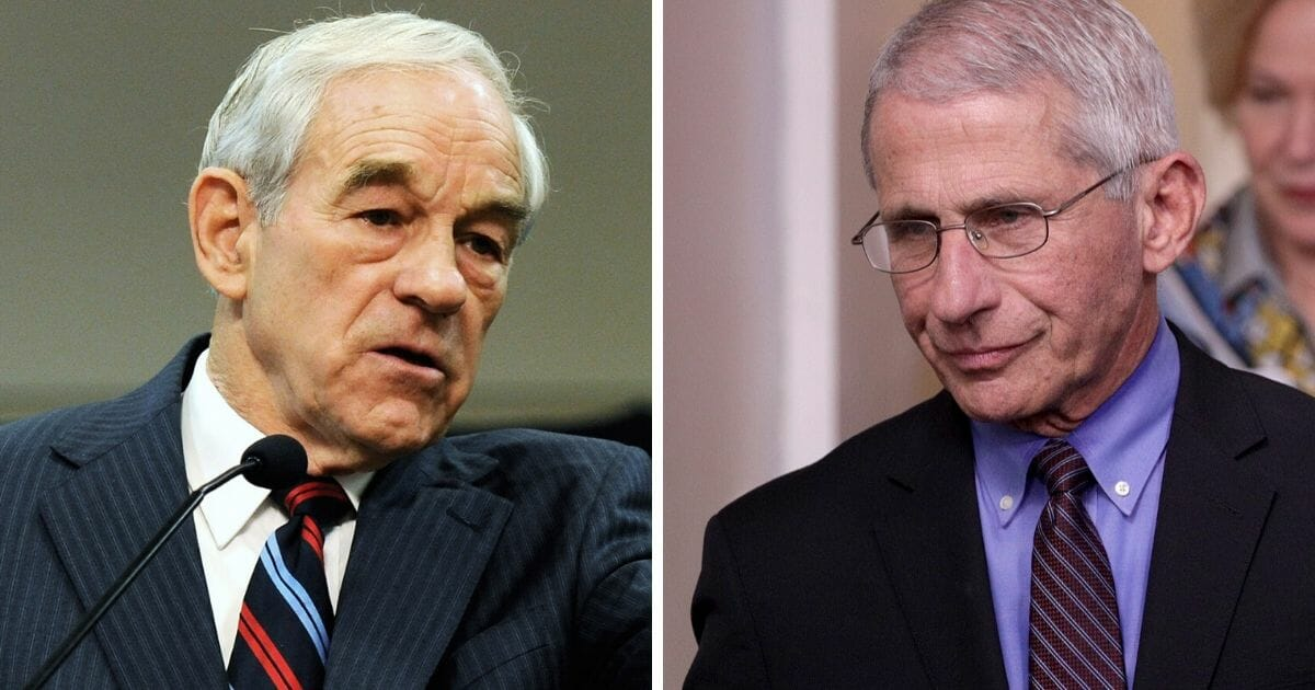 Former Rep. Ron Paul, left; and Dr. Anthony Fauci, right, director of the National Center of Allergy and Infectious Diseases.