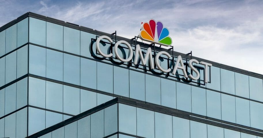 Stock image of the NBC logo at Comcast's regional headquarters in St. Paul, Minnesota.