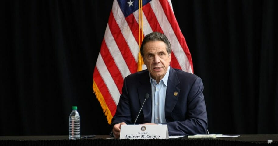 New York Gov. Andrew Cuomo speaks during a news conference at the Jacob Javits Convention Center during the coronavirus pandemic on March 30, 2020, in New York City.