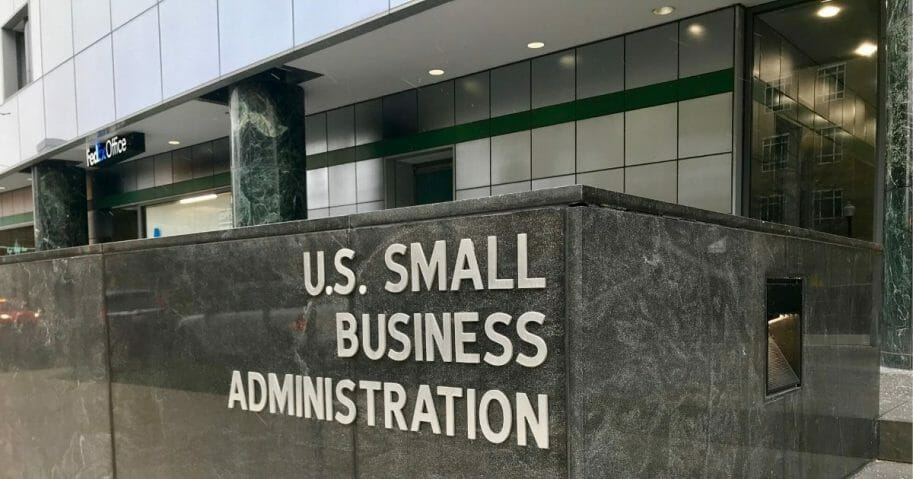 The entrance to the headquarters of the Small Business Administration in Washington, D.C.