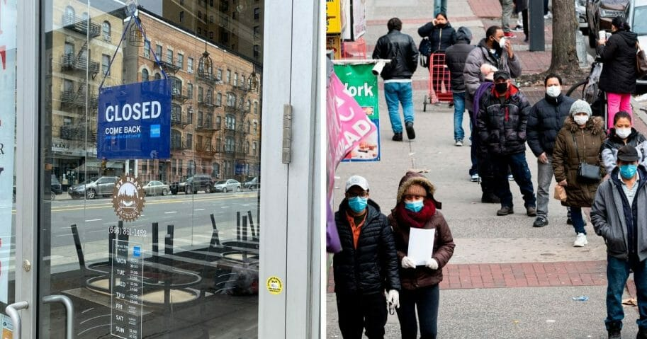 "A ""closed"" sign in a restaurant door, left; a street scene of masked pedestrians, right."