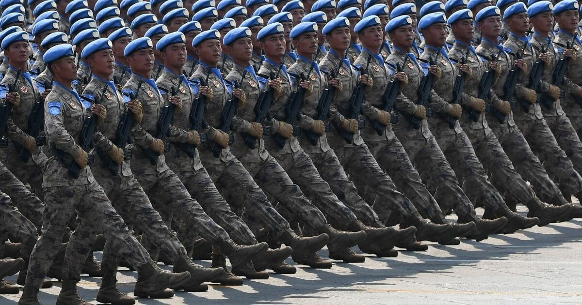 Chinese People's Liberation Army personnel participate in a military parade at Tiananmen Square in Beijing on Oct. 1, 2019, to mark the 70th anniversary of the founding of the People's Republic of China.