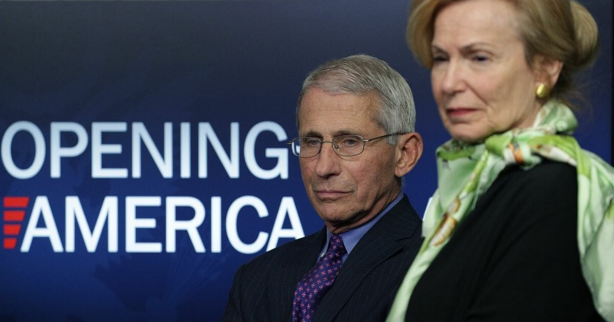 Dr. Anthony Fauci, the director of the National Institute of Allergy and Infectious Diseases, and Dr. Deborah Birx, the White House coronavirus response coordinator, listen to President Donald Trump speak at the daily briefing of the coronavirus task force at the White House on April 16, 2020, in Washington, D.C.