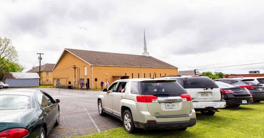 A drive-in Easter service led by Pastor Joshua Jackson is held at Mt. Pleasant Missionary Baptist Church in Denison, Texas on April 12, 2020.