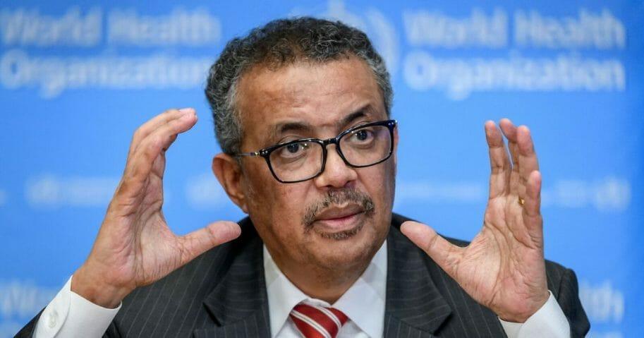 World Health Organization Director-General Tedros Adhanom Ghebreyesus speaks at a March briefing about the coronavirus outbreak.