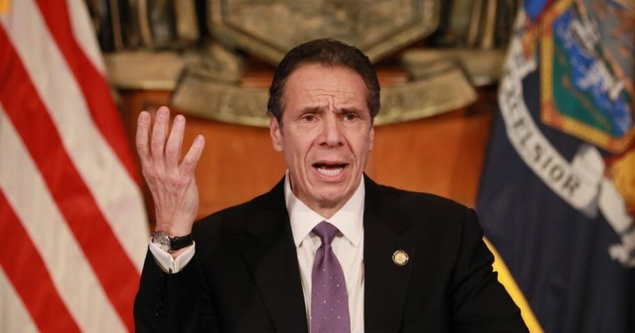 New York Gov. Andrew Cuomo gives a news briefing about the coronavirus crisis on April 17, 2020, in Albany, New York.